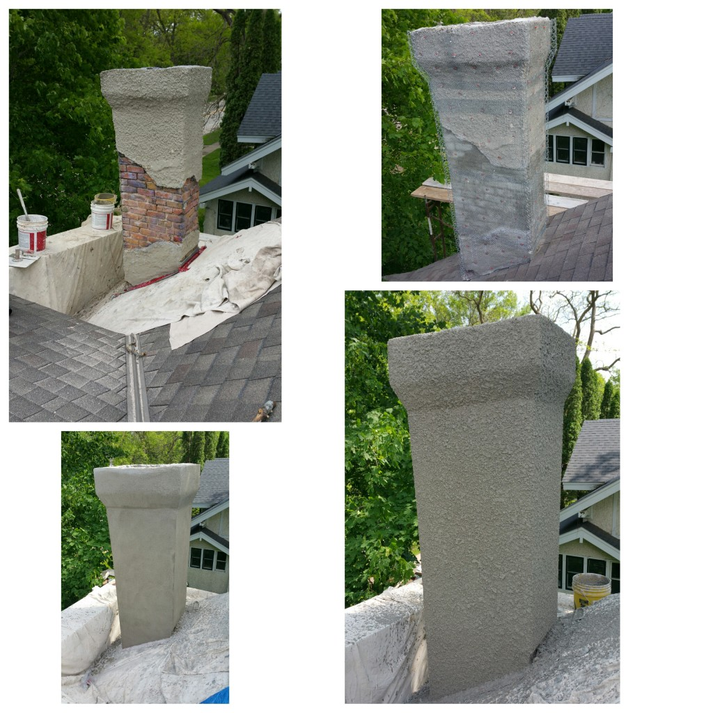 Chimney stucco repairs.