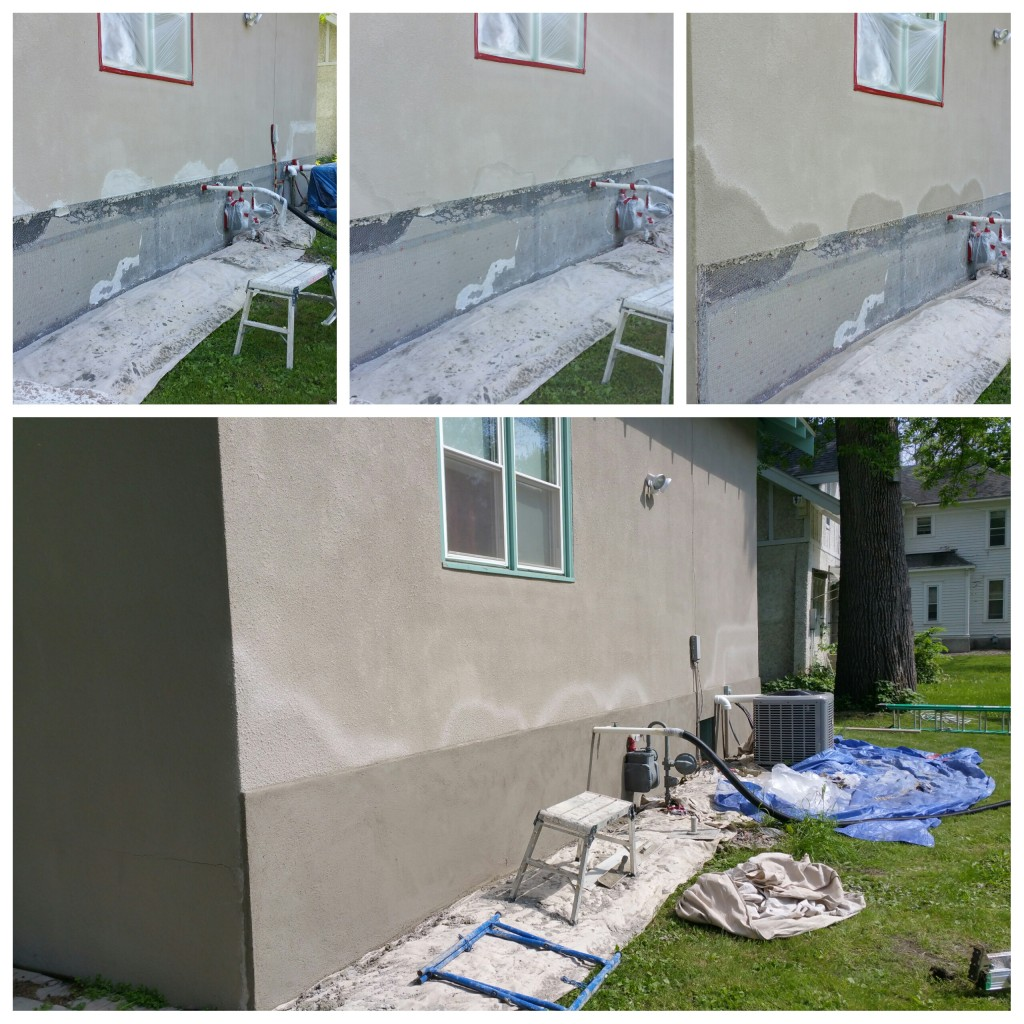 Stucco patching and raintable.