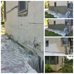 Stucco tear-off and repair to match.