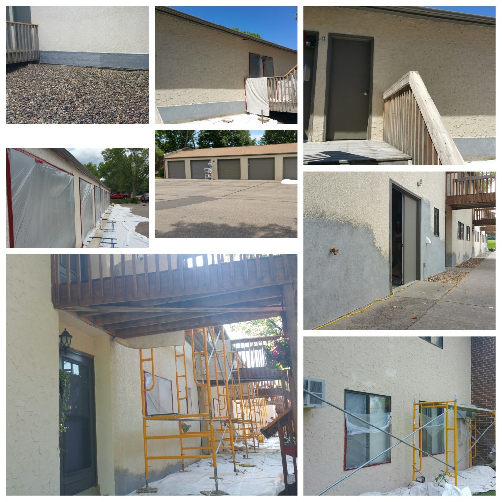 Condominium Stucco repairs and refinishing.